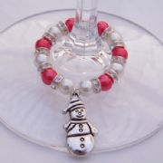 Snowman Wine Glass Charm - Full Sparkle Style